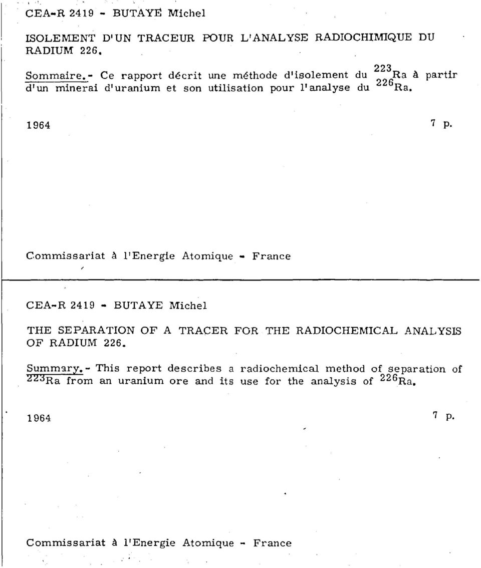 1964 Commissariat à l'energie Atomique - France CEA-R 2419 - BUTA YE Michel THE SEPARATION OF A TRACER FOR THE RADIOCHEM1CAL ANALYSIS OF