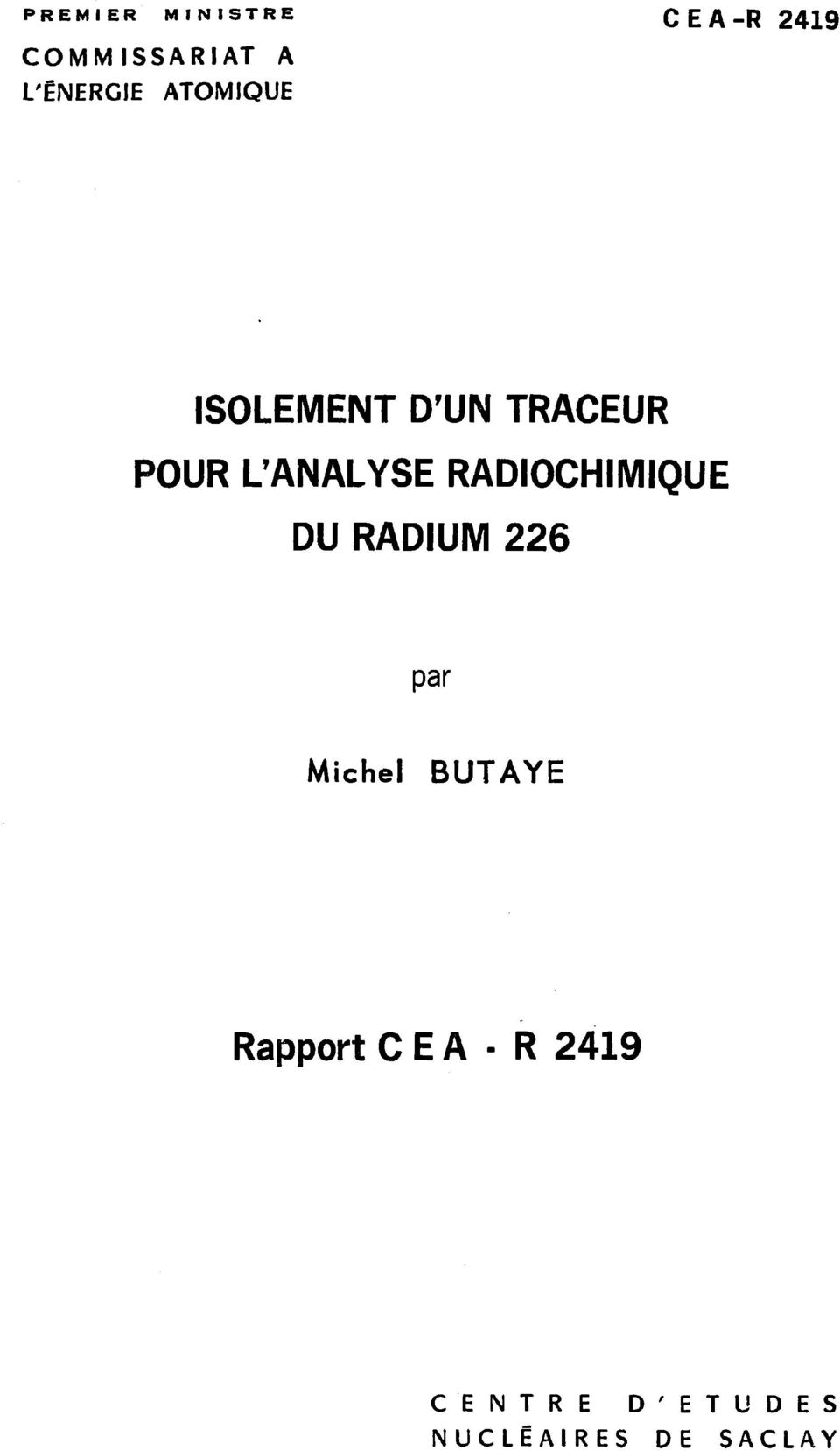 L'ANALYSE RADIOCHIMIQUE DU RADIUM 226 par Michel