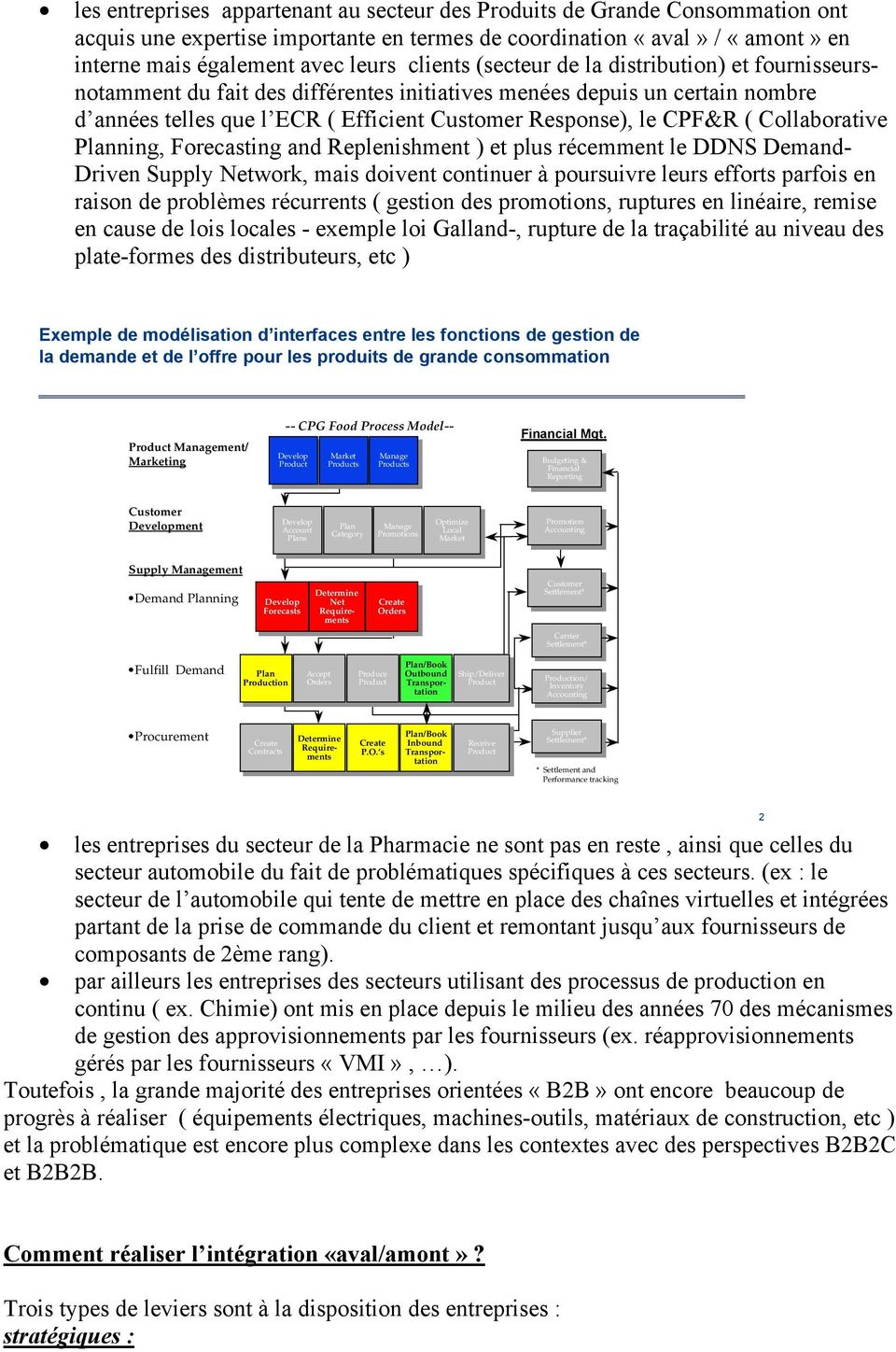 Collaborative Planning, Forecasting and Replenishment ) et plus récemment le DDNS Demand- Driven Supply Network, mais doivent continuer à poursuivre leurs efforts parfois en raison de problèmes