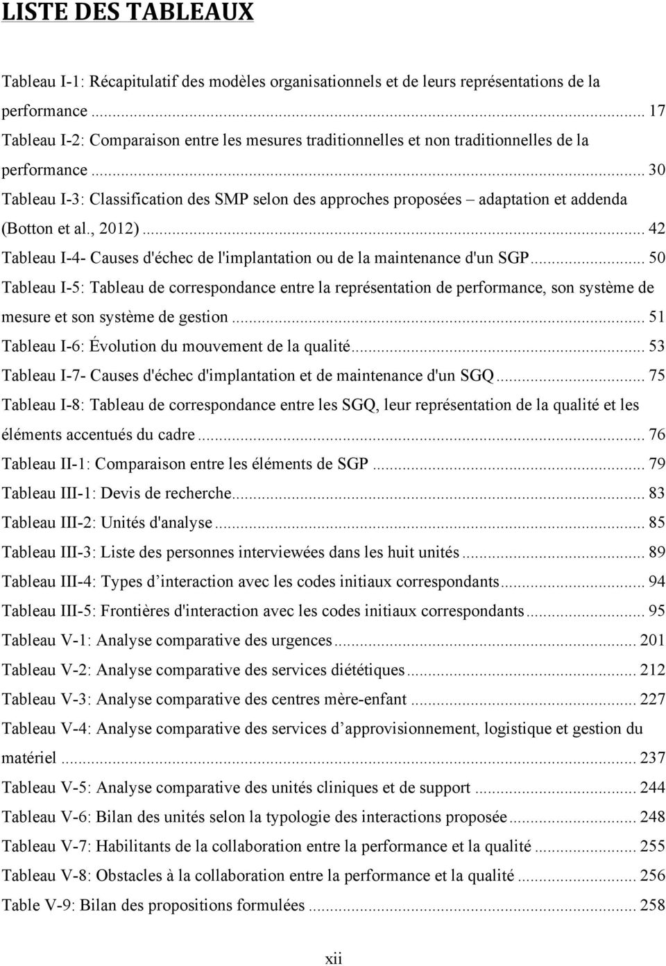 .. 30 Tableau I-3: Classification des SMP selon des approches proposées adaptation et addenda (Botton et al., 2012)... 42 Tableau I-4- Causes d'échec de l'implantation ou de la maintenance d'un SGP.