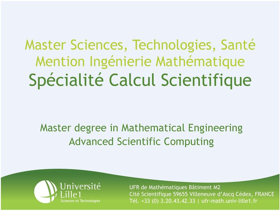 Calcul Scientifique Master degree in