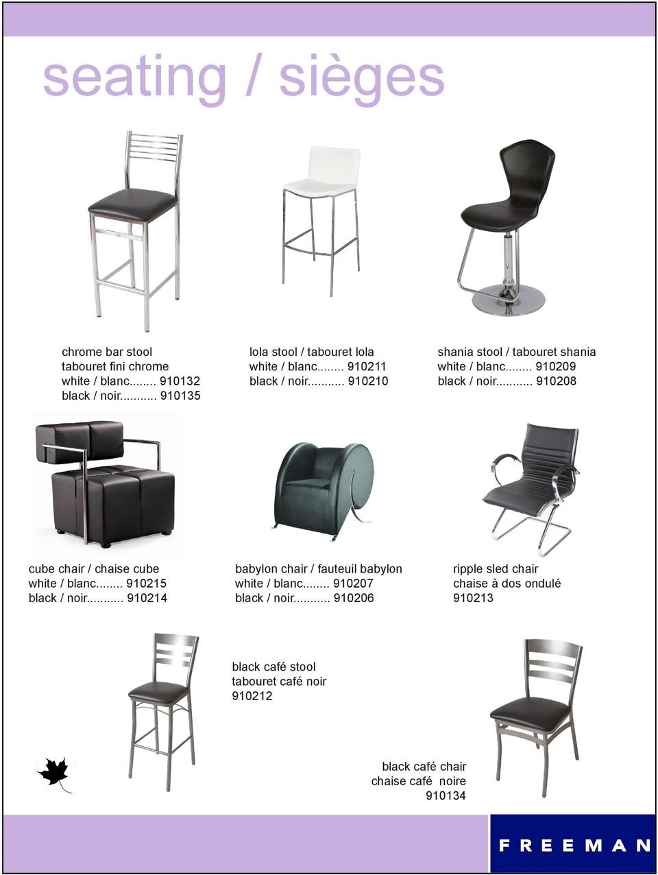 .. 910209 black / noir... 910208 cube chair / chaise cube white / blanc... 910215 black / noir.