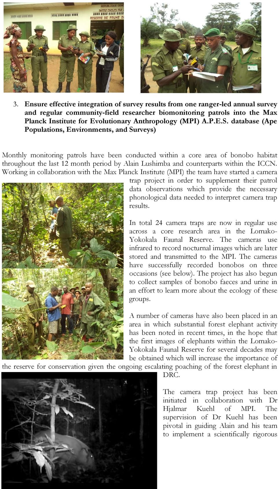 database (Ape Populations, Environments, and Surveys) Monthly monitoring patrols have been conducted within a core area of bonobo habitat throughout the last 12 month period by Alain Lushimba and