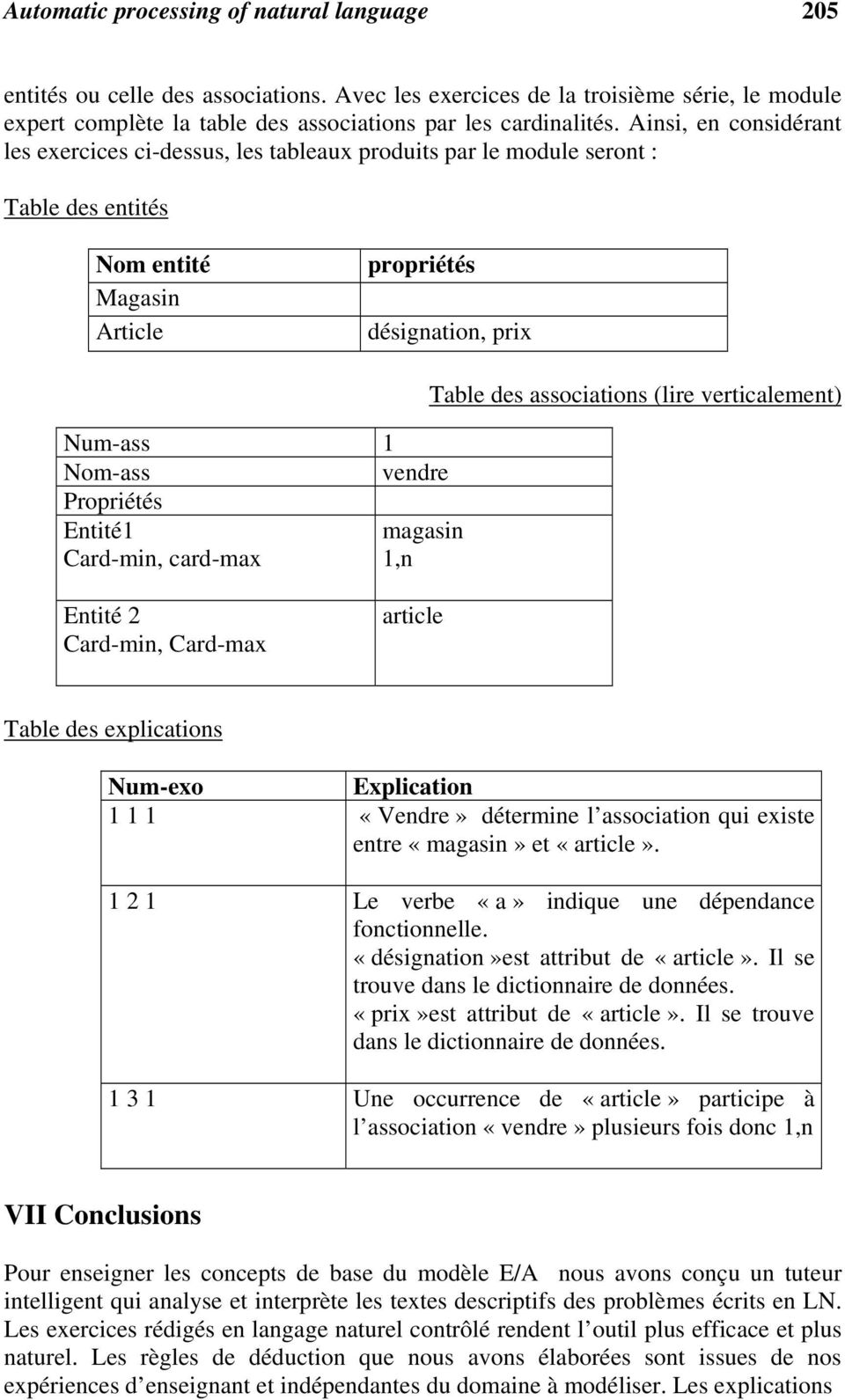 Propriétés Entité1 magasin Card-min, card-max 1,n Table des associations (lire verticalement) Entité 2 Card-min, Card-max article Table des explications Num-exo Explication 1 1 1 «Vendre» détermine l