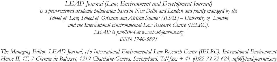 LEAD is published at www.lead-journal.
