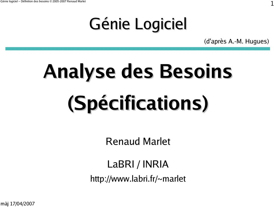 (Spécifications) Renaud Marlet LaBRI