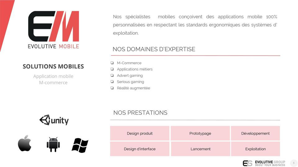 NOS DOMAINES D EXPERTISE SOLUTIONS MOBILES Application mobile M-commerce M-Commerce Applications