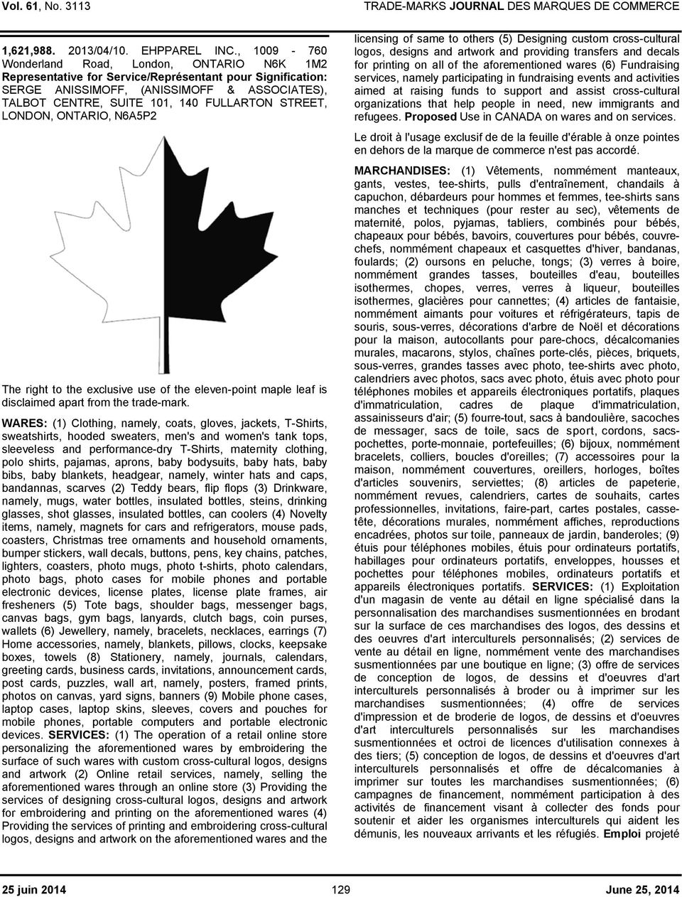 of the eleven-point maple leaf is disclaimed apart from the trade-mark.