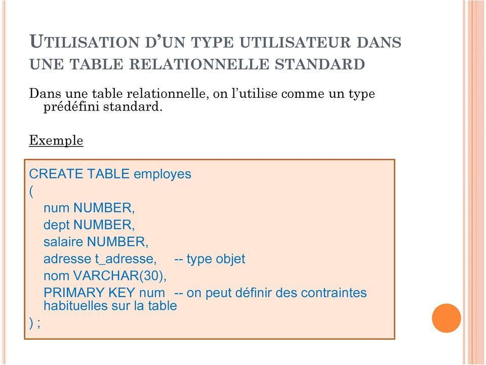 Exemple CREATE TABLE employes ( num NUMBER, dept NUMBER, salaire NUMBER, adresse