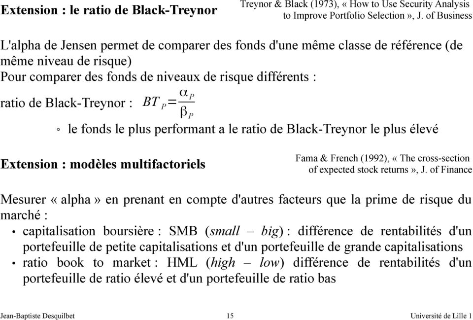 BT P = α P β P le fonds le plus performant a le ratio de Black-Treynor le plus élevé Extension : modèles multifactoriels Fama & French (1992), «The cross-section of expected stock returns», J.