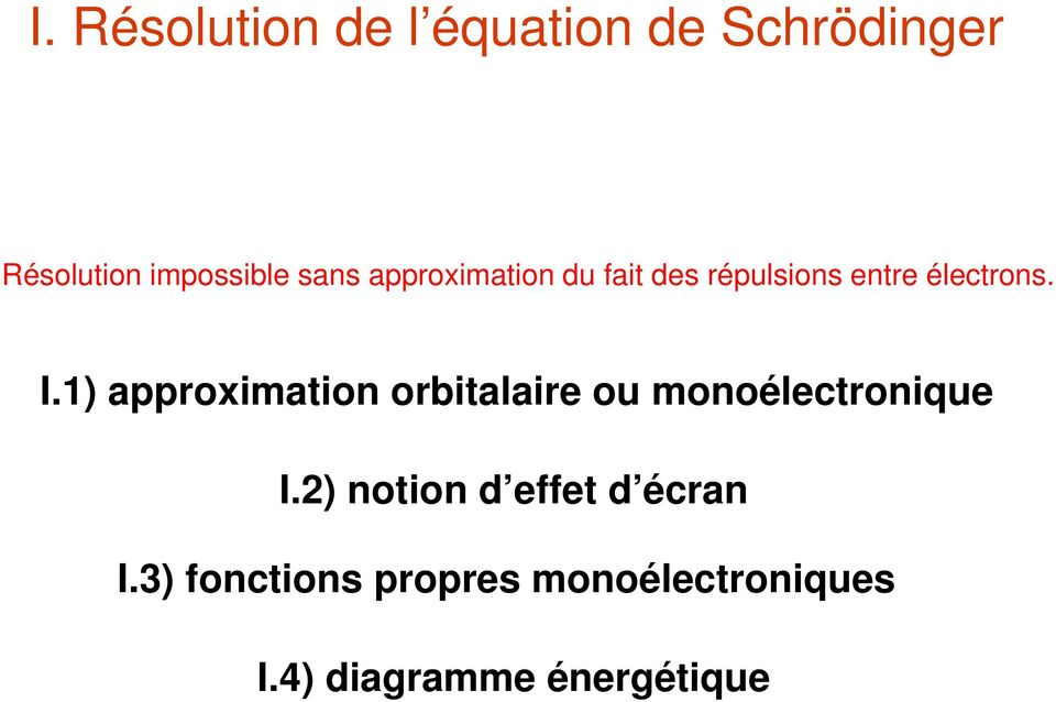 1) approximation orbitalaire ou monoélectronique I.