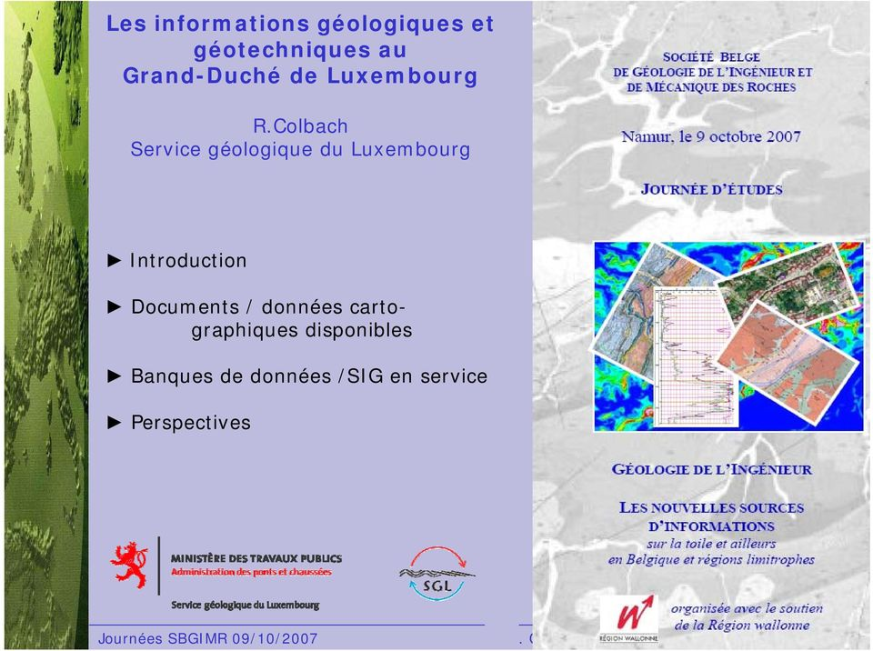Colbach Service géologique du Luxembourg Introduction