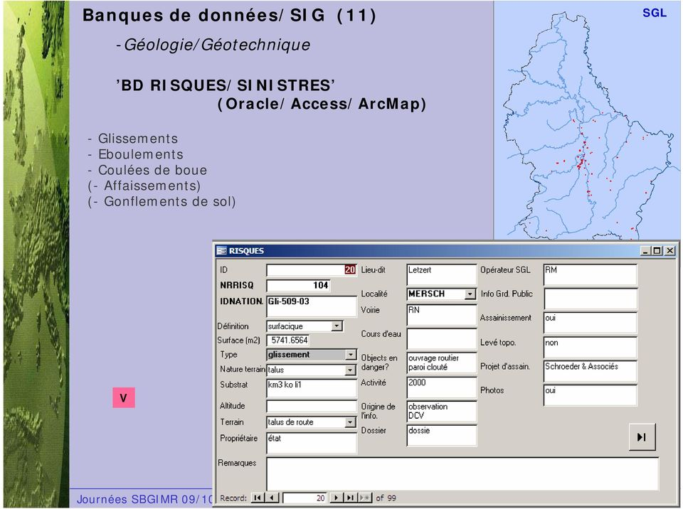 (Oracle/Access/ArcMap) - Glissements -