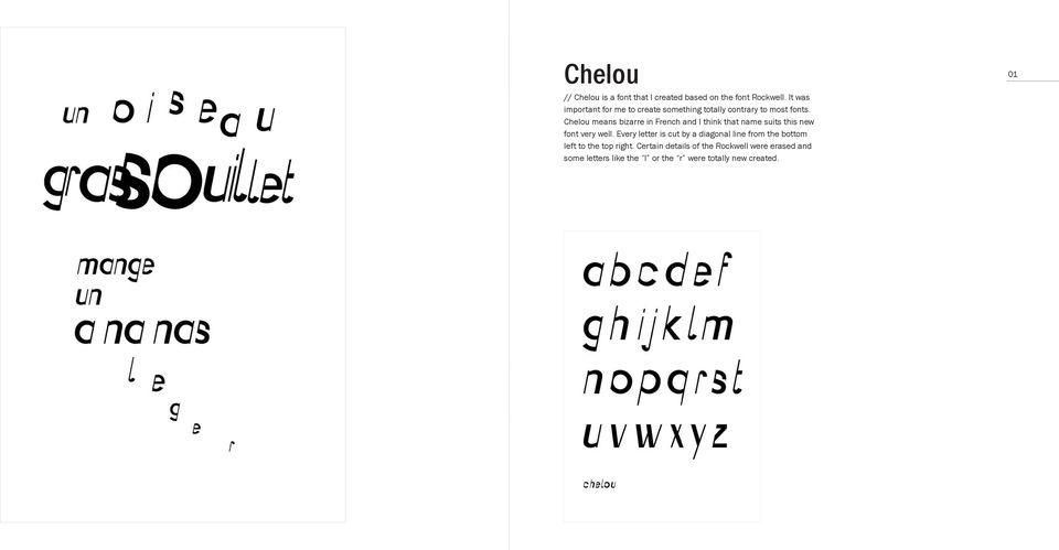 Chelou means bizarre in French and I think that name suits this new font very well.