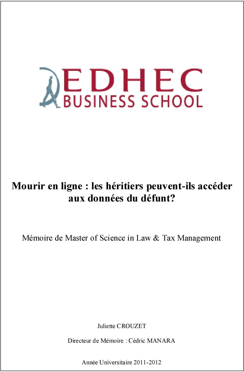 Mémoire de Master of Science in Law & Tax Management