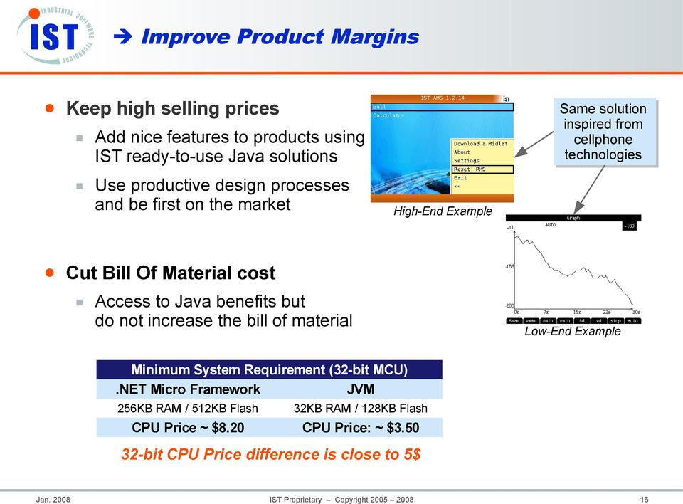 benefits but do not increase the bill of material Low-End Example Minimum System Requirement (32-bit MCU).