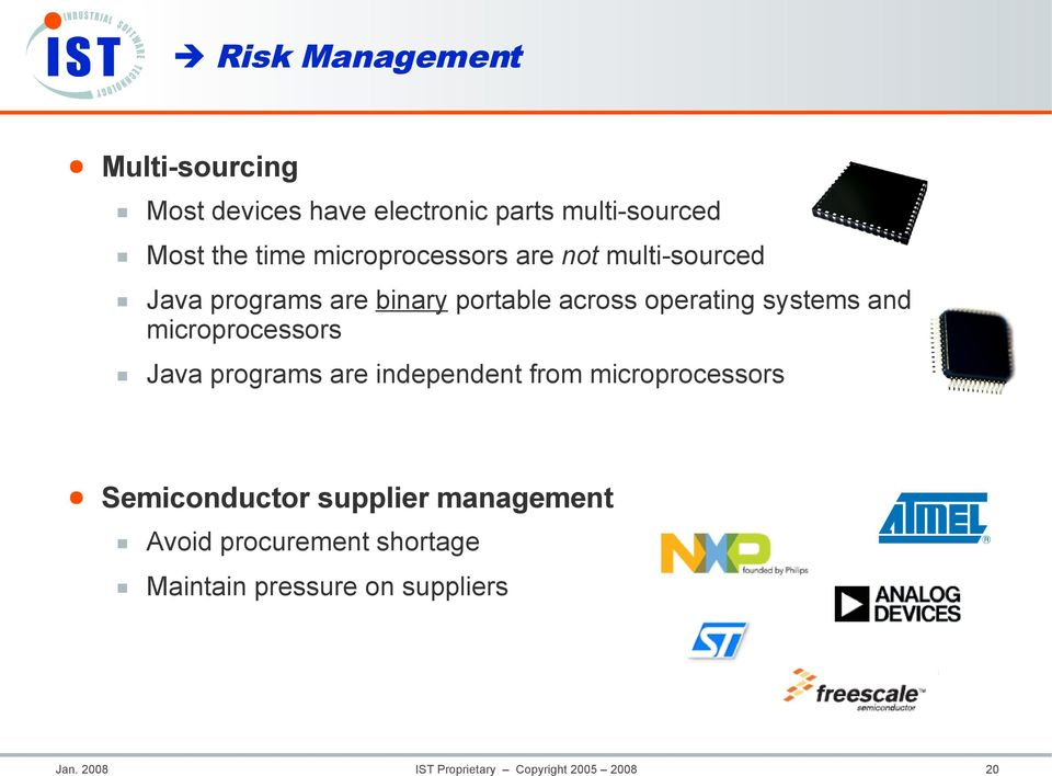 and microprocessors Java programs are independent from microprocessors Semiconductor supplier