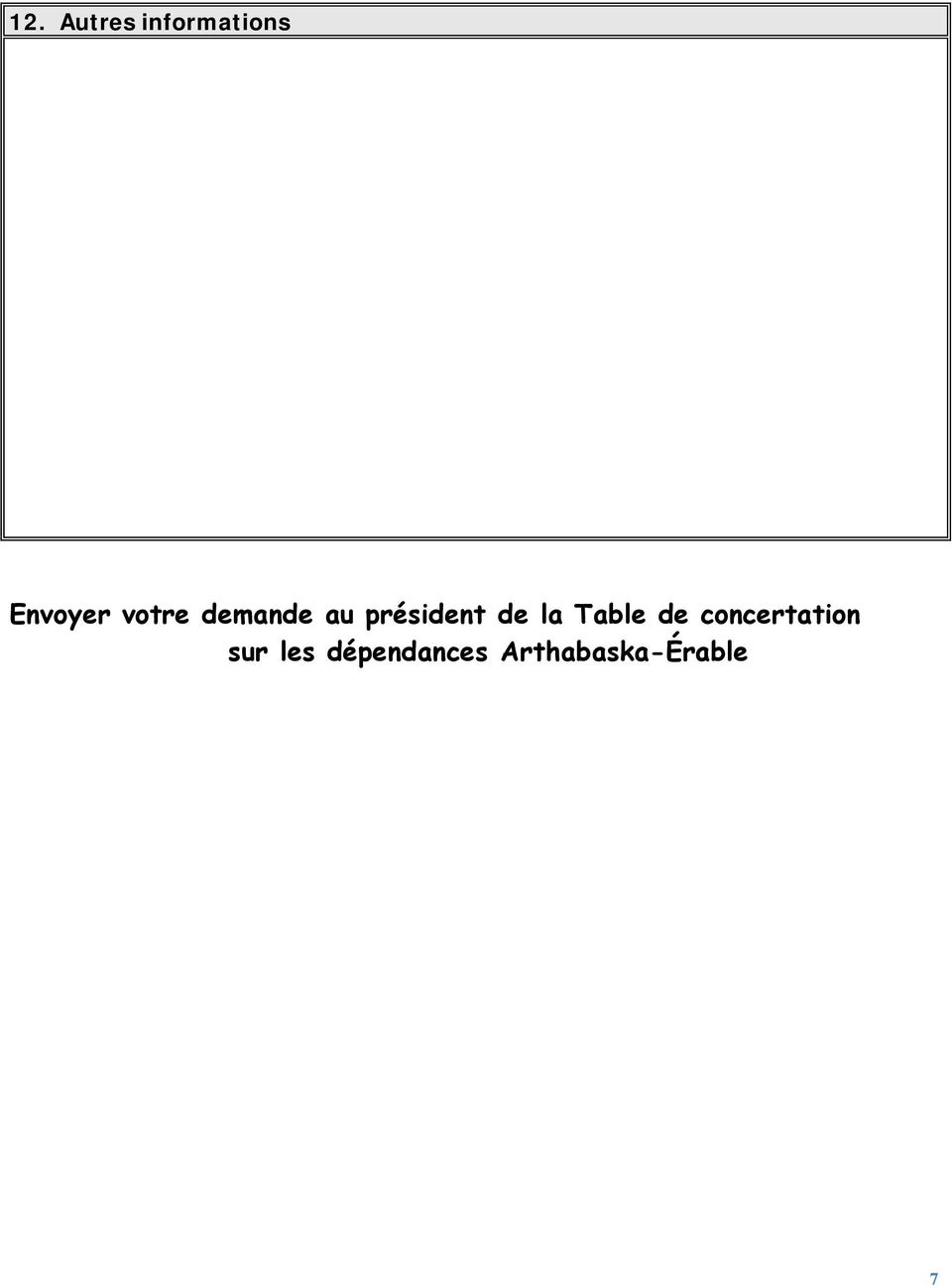 la Table de concertation sur