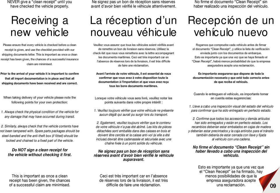 Recepción de un vehículo nuevo Please ensure that every vehicle is checked before a clean receipt is given, and use the checklist provided with our shipping documents letter.
