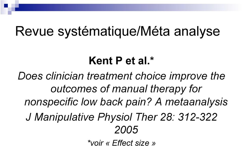 of manual therapy for nonspecific low back pain?