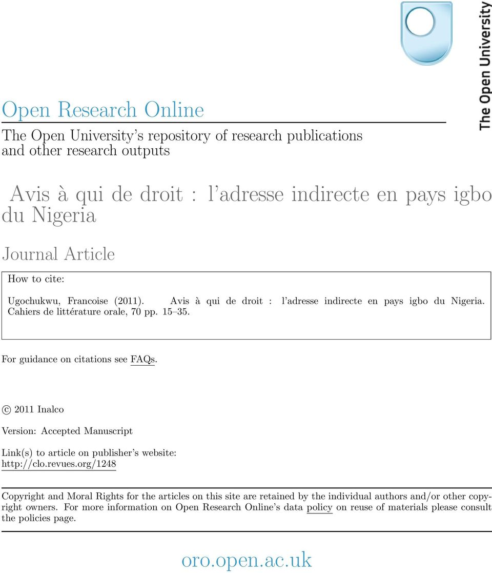 For guidance on citations see FAQs. c 2011 Inalco Version: Accepted Manuscript Link(s) to article on publisher s website: http://clo.revues.