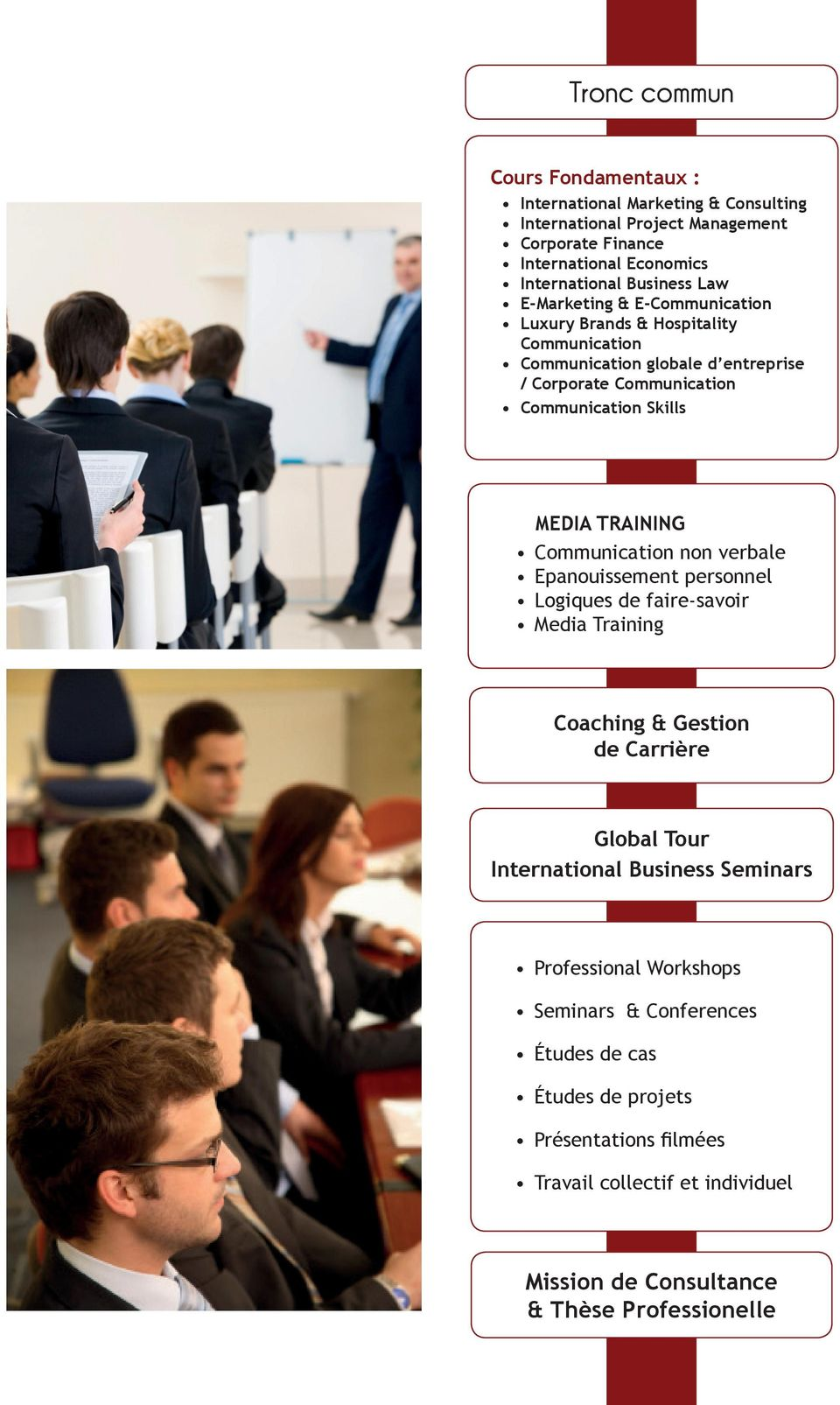 TRAINING Communication non verbale Epanouissement personnel Logiques de faire-savoir Media Training Coaching & Gestion de Carrière Global Tour International Business