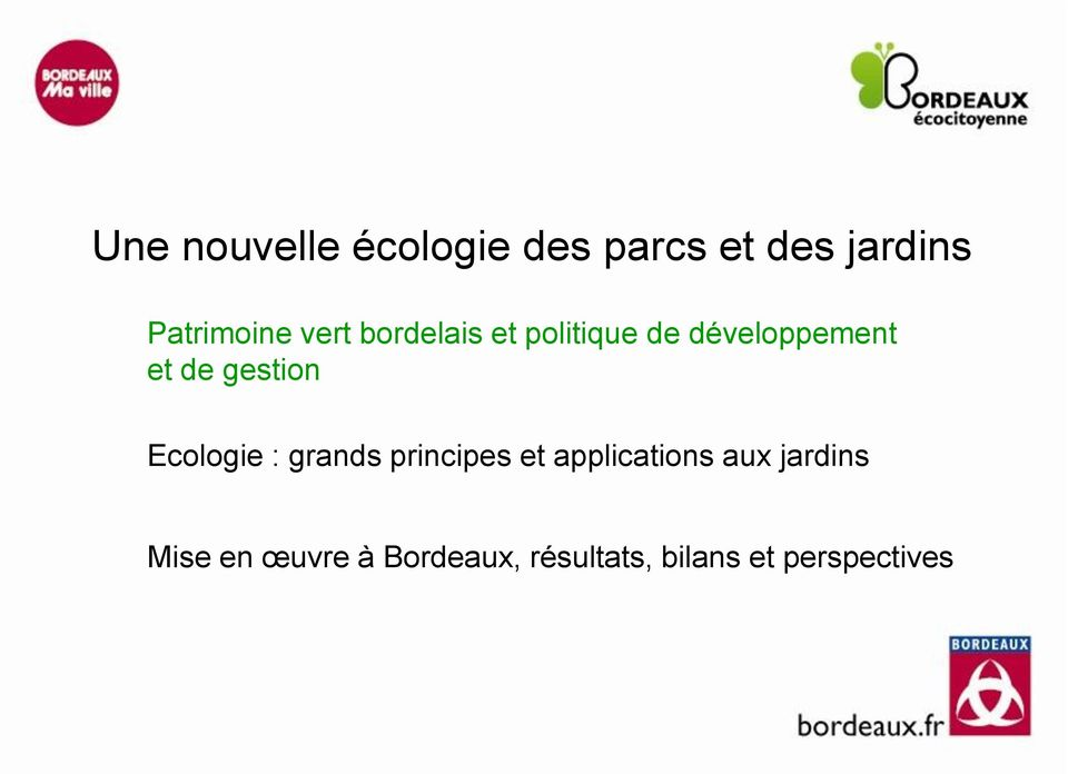 gestion Ecologie : grands principes et applications aux