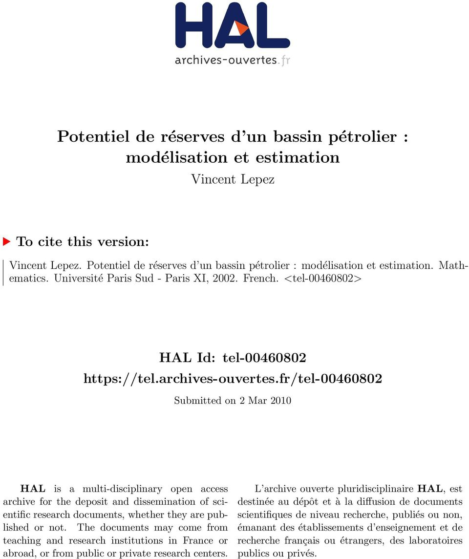 fr/tel-4682 Submitted on 2 Mar 21 HAL is a multi-disciplinary open access archive for the deposit and dissemination of scientific research documents, whether they are published or not.
