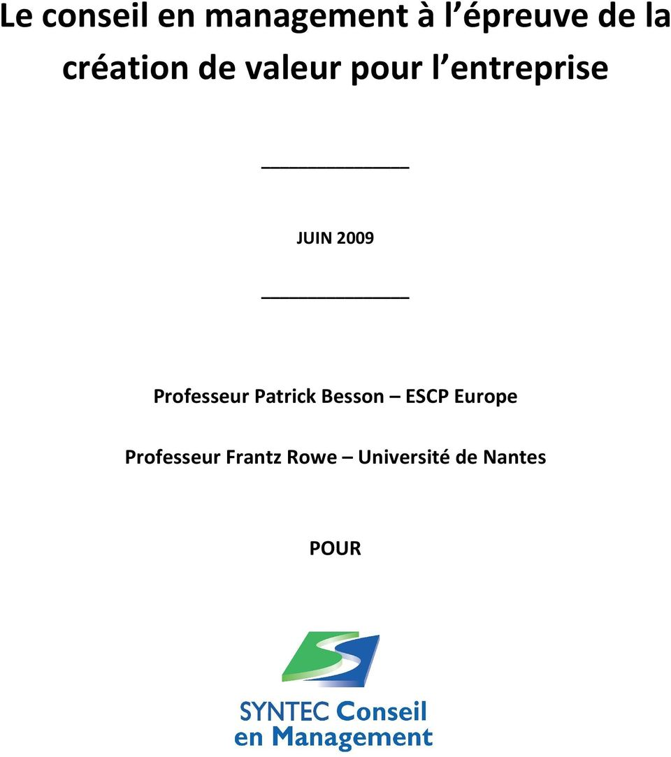 2009 Professeur Patrick Besson ESCP Europe