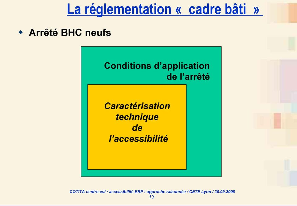 Conditions d application de l