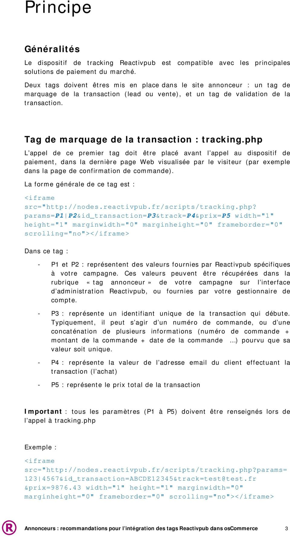 Tag de marquage de la transaction : tracking.