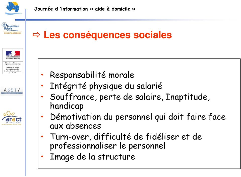 Démotivation du personnel qui doit faire face aux absences Turn-over,