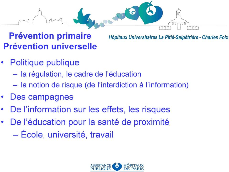éducation la notion de risque (de l interdiction à l information) Des campagnes De l