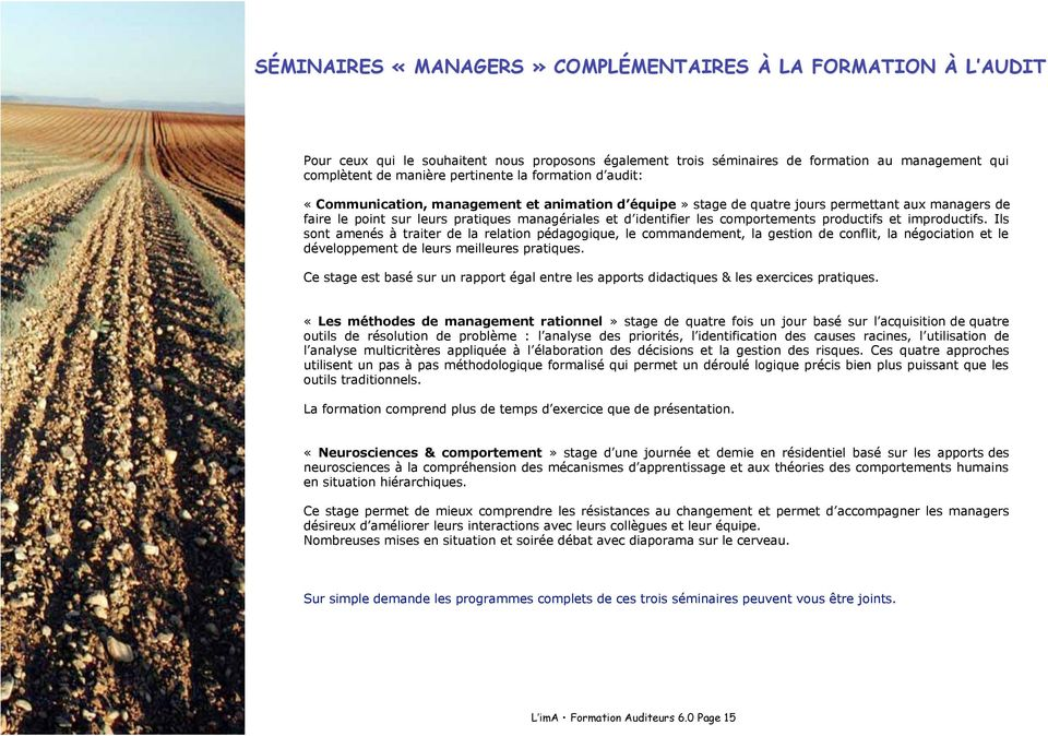 comportements productifs et improductifs.