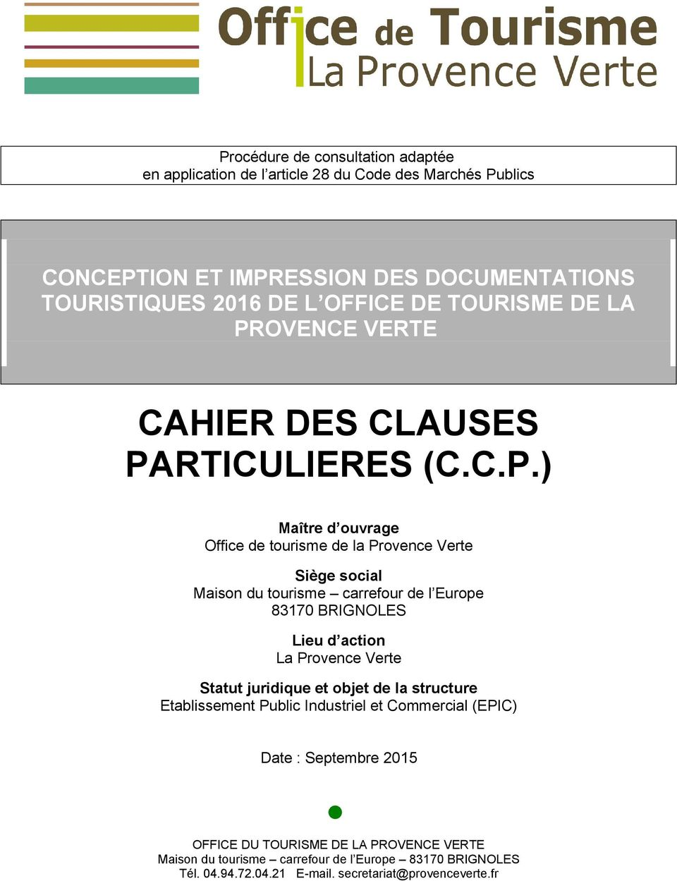 OVENCE VERTE CAHIER DES CLAUSES PA