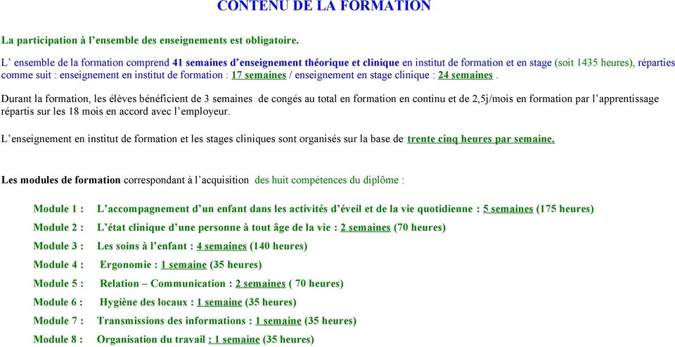 formation : 17 semaines / enseignement en stage clinique : 24 semaines.