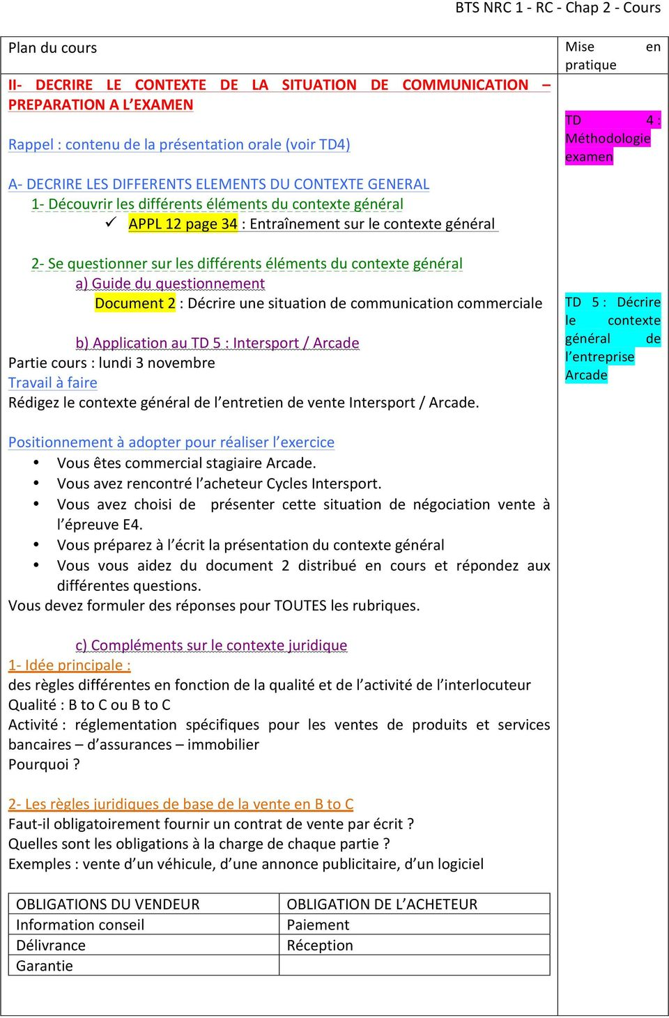 questionner sur les différents éléments du contexte général a) Guide du questionnement Document 2 : Décrire une situation de communication commerciale b) Application au 5 : / Arcade Partie cours :