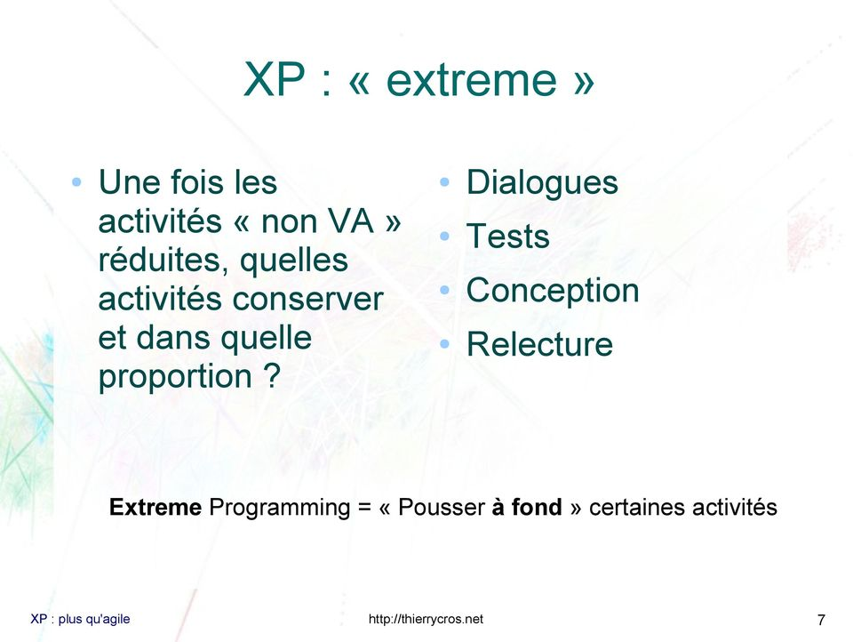 Dialogues Tests Conception Relecture Extreme Programming =