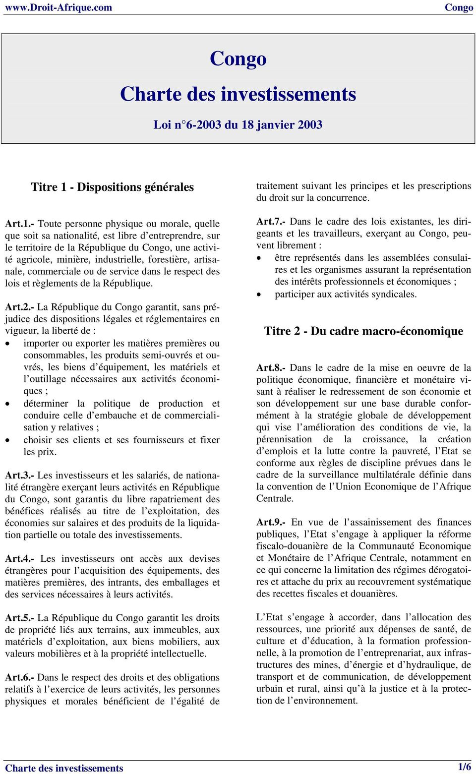 - Dispositions générales Art.1.