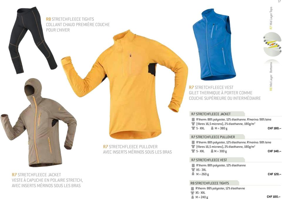 polyester, 12% élasthanne. R merino: 98% laine (fibres 16,5 microns), 2% élasthanne, 180g/m 2 S - XXL M = 380 g CHF 180. R7 STRETCHFLEECE PULLOVER R therm: 88% polyester, 12% élasthanne.