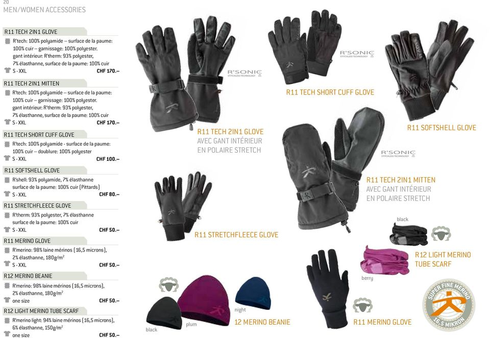 TECH 2IN1 MITTEN R tech: 100% polyamide surface de la paume: 100% cuir garnissage: 100% polyester.