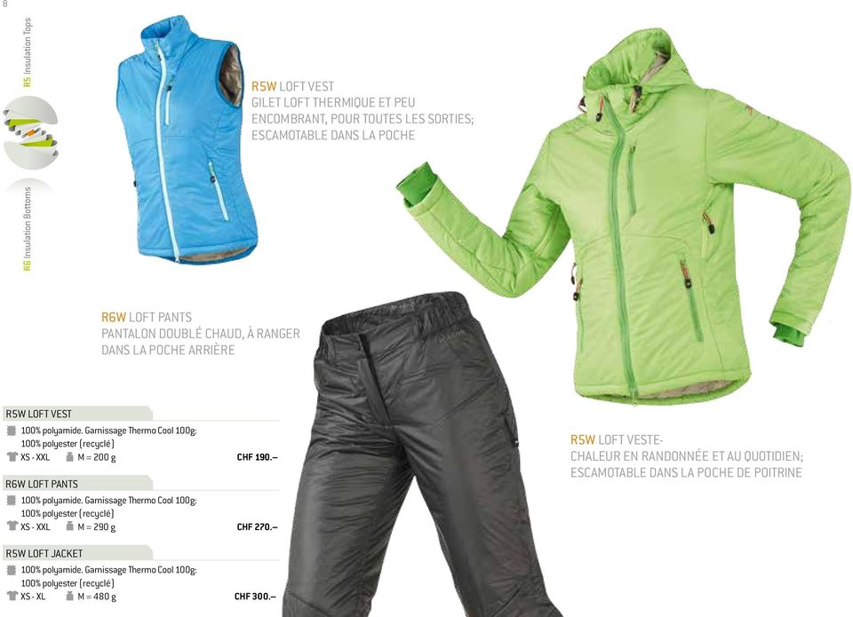 Garnissage Thermo Cool 100g: 100% polyester (recyclé) XS - XXL M = 200 g R6W LOFT PANTS 100% polyamide.