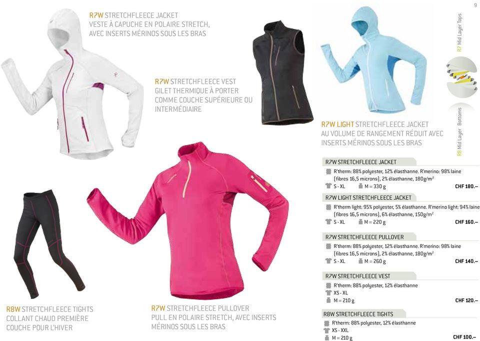 R merino: 98% laine (fibres 16,5 microns), 2% élasthanne, 180g/m 2 S - XL M = 330 g CHF 180. R7W LIGHT STRETCHFLEECE JACKET R therm light: 95% polyester, 5% élasthanne.