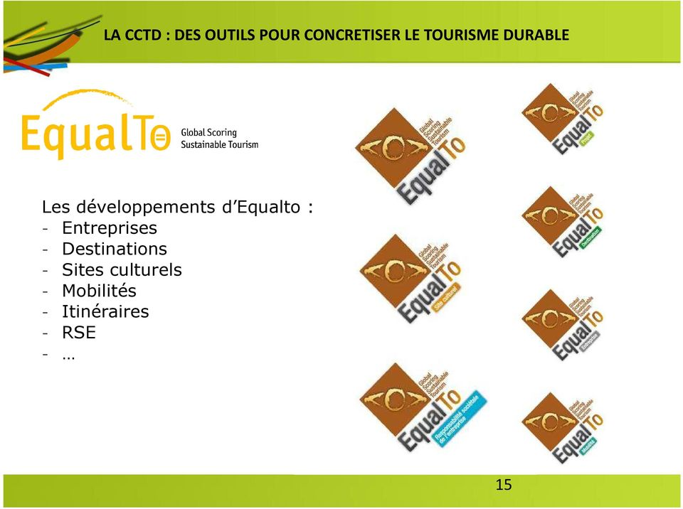 Equalto : - Entreprises - Destinations -