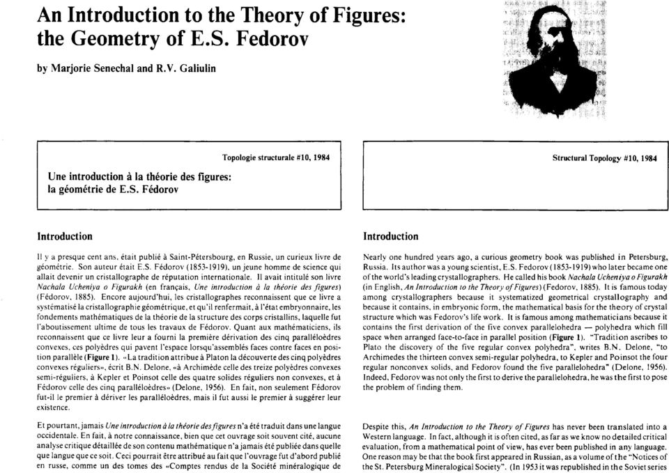 nechal and R.V. Galiulin Une introduction a la thkorie des figures: la gkomktrie de E.S.