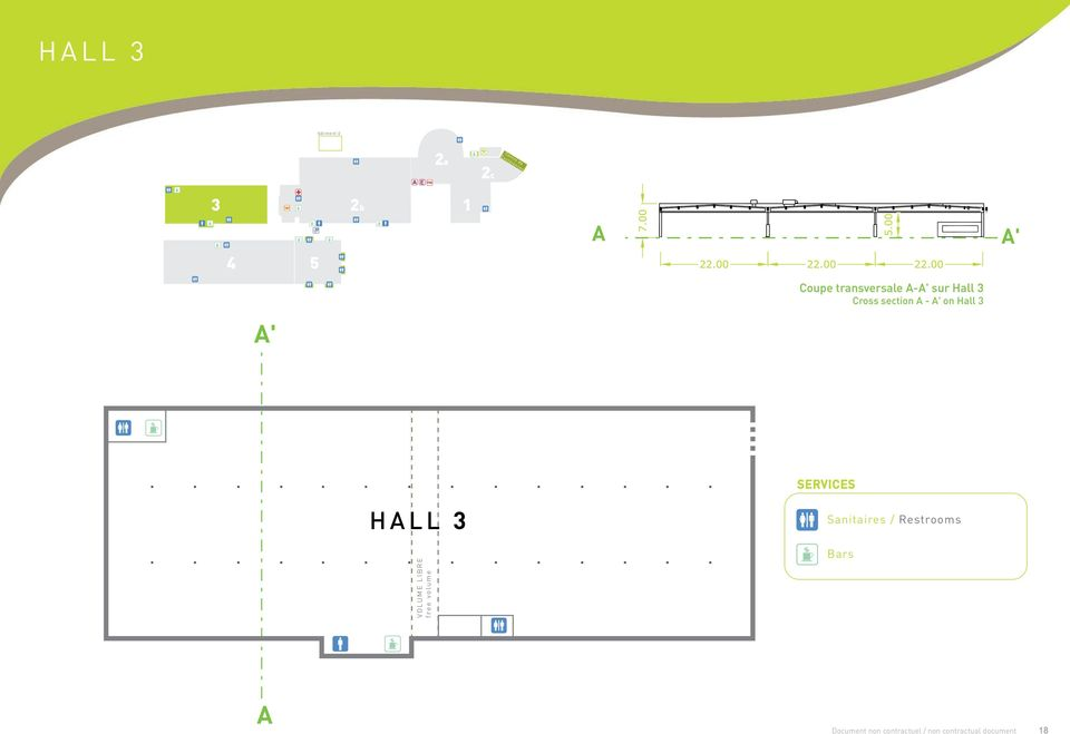 Cross section A - A' on Hall 3 A' SERVICES HALL 3