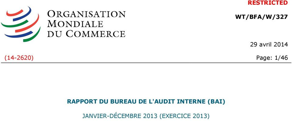DU BUREAU DE L'AUDIT INTERNE (BAI)