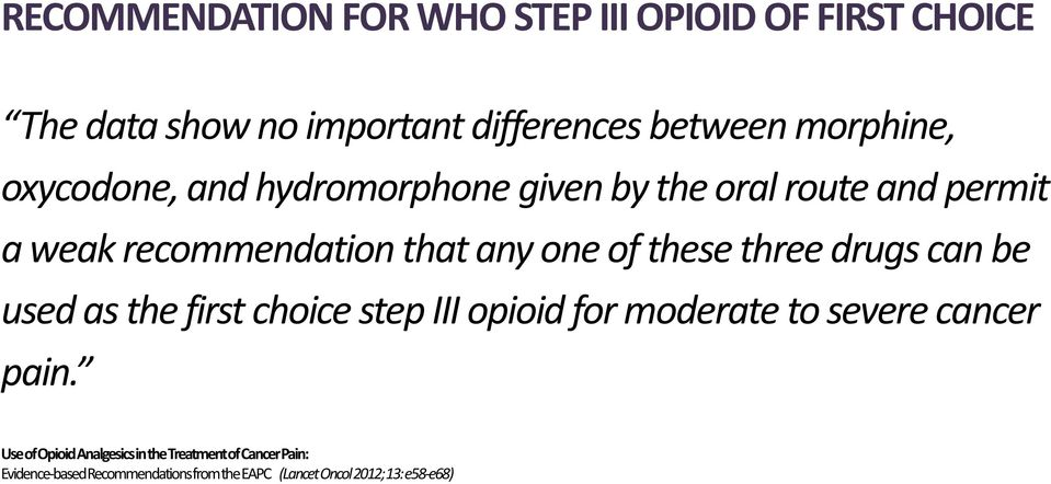 three drugs can be used as the first choice step III opioid for moderate to severe cancer pain.