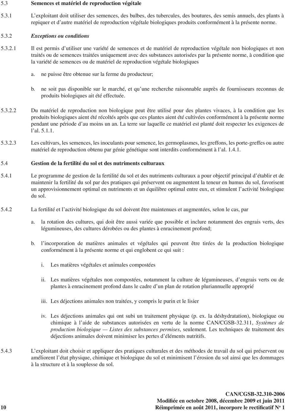 Exceptions ou conditions 5.3.2.