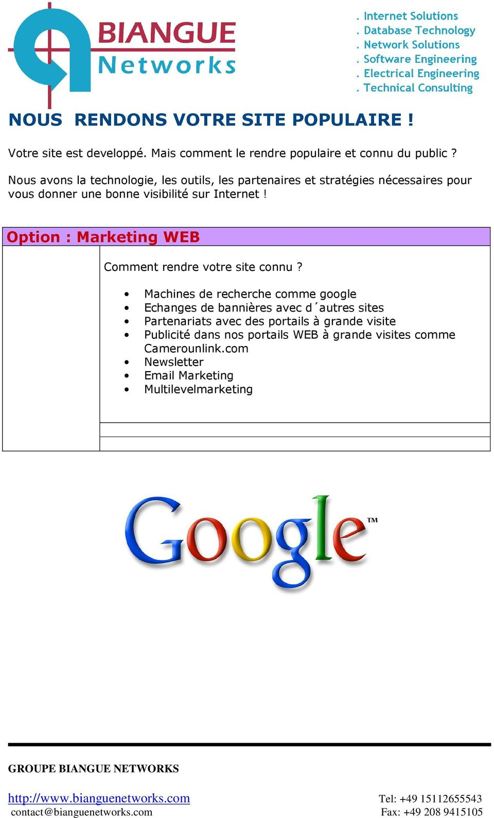 Option : Marketing WEB Comment rendre votre site connu?